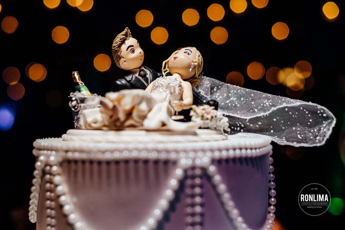 Decoração do bolo de casamento na Casa do Bosque
